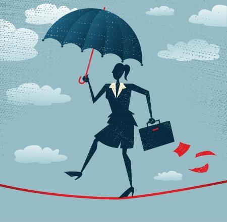 tightrope: Abstract Zakenvrouw zorgvuldig lopen over een zeer hoge koord met haar paraplu voor extra bescherming