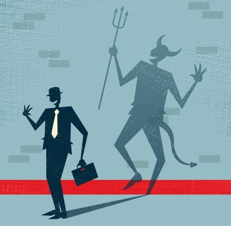 tanzen cartoon: Abstrakt Gesch�ftsmann ist der Teufel in Disguise Illustration