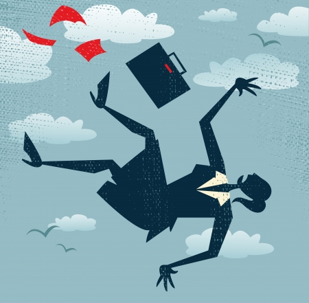 Abstract Businesswoman s career is in Free fall