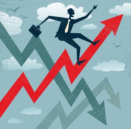 抽象的な実業家登る売り上げグラフ  イラスト・ベクター素材