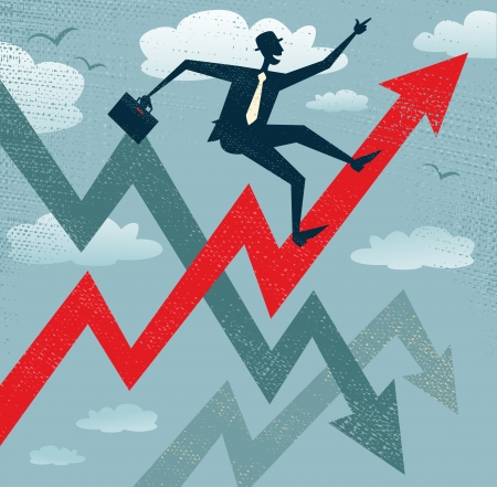 Abstract Businessman Climbs the Sales Chart   Stock Illustratie