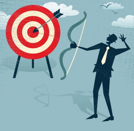 bull s eye: Abstract Businessman Hits the Sales Target