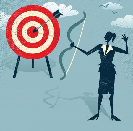 bull s eye: Abstract Businesswoman Hits the Sales Target