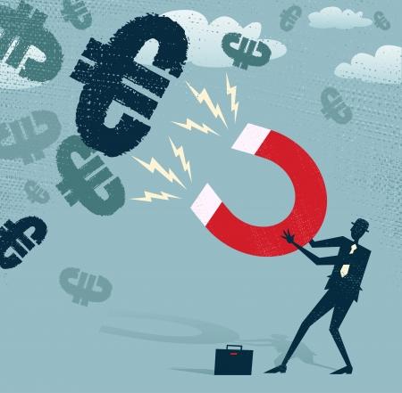 Résumé d'affaires attrape Euros avec aimant l'argent Banque d'images - 23588211