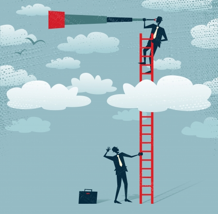 Abstract Businessman gets a better view  Great illustration of Retro styled Businessman climbing above the clouds to get a better view of the landscape than his competitors  Vector