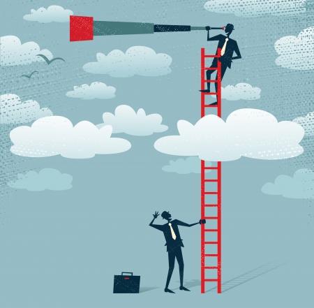 Abstrakt Geschäftsmann bekommt einen besseren Blick Große Illustration von Retro-Stil Geschäftsmann Klettern über den Wolken, um eine bessere Sicht auf die Landschaft als seine Konkurrenten bekommen
