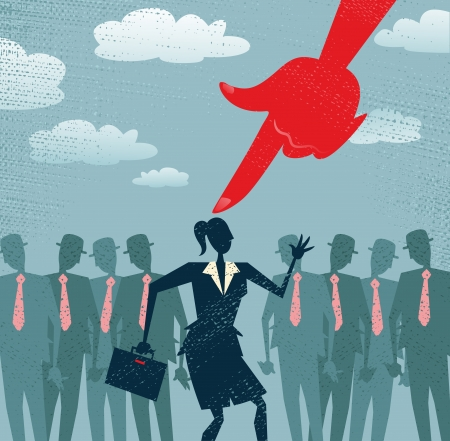 predicament: Businesswoman picked out from the crowd by a huge people picking red hand  All recruitment Agencies need one of these  Illustration