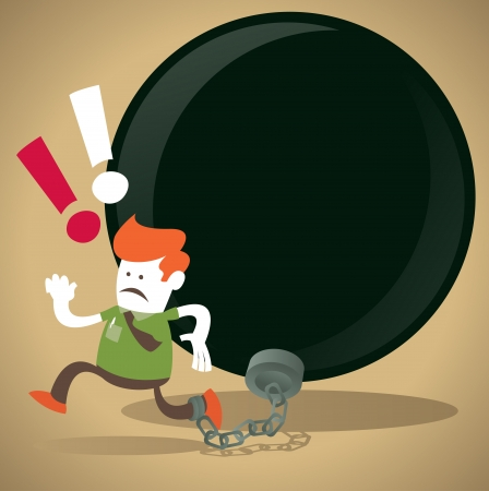 Corporate Guy is locked in a Ball and Chain  Vector