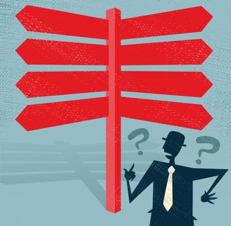 Retro Stil Geschäftsmann mit einer Auswahl von Business-bezogene Optionen und Entscheidungen zu treffen Vektorgrafik