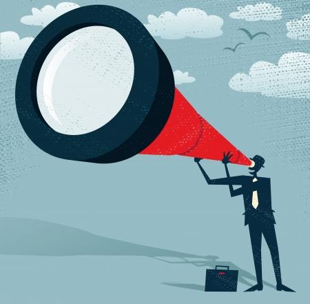Streszczenie Biznesmen patrzy przez teleskop Wielkiej ilustracji Retro stylizowany Biznesmen, który