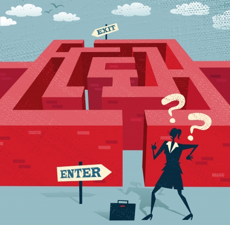 difficult task: Retro styled Businesswoman with a very difficult task ahead of her to find her way through a maze to the other side   Illustration