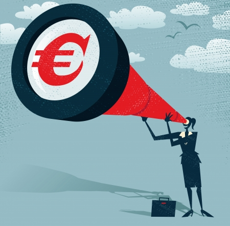 Abstract Businesswoman looks through her Telescope for Euros  Great illustration of Retro styled Businesswoman who Vector