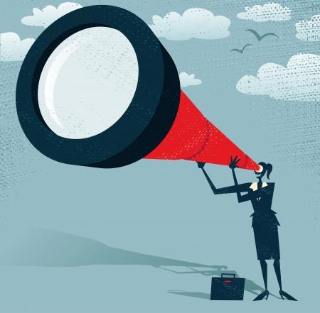 fernrohr: Abstrakt Geschäftsfrau schaut durch ihr Teleskop Große Illustration von Retro-Stil, die Geschäftsfrau