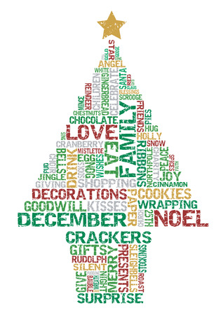 word clouds: Typographical Christmas Tree. Great illustration of Retro styled Christmas tree created with Typographical elements.