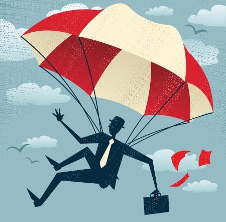 fallschirm: Abstrakt Geschäftsmann nutzt seinen Fallschirm Große Illustration von Retro-Stil, der Geschäftsmann
