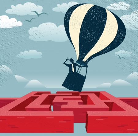 Abstract Businessman finds quick route over Maze  Great illustration of Retro styled Businessman with a very clever idea to use a Hot Air Balloon to find his way through a maze to the other side