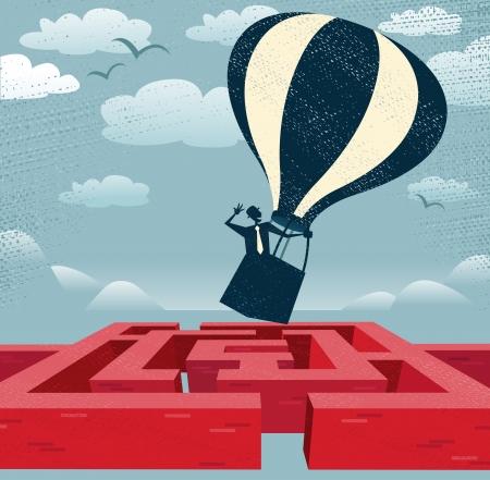 Resumen Empresario encuentra vía rápida sobre Maze Gran ejemplo de hombre de negocios de estilo retro con una idea muy inteligente usar un globo de aire caliente para encontrar su camino a través de un laberinto a otro lado