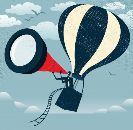 抽象的な実業家レトロなスタイルの実業家、熱気球の彼の巨大な望遠鏡を使用して彼のライバルにエッジを取得する素晴らしいアイデアのすべての