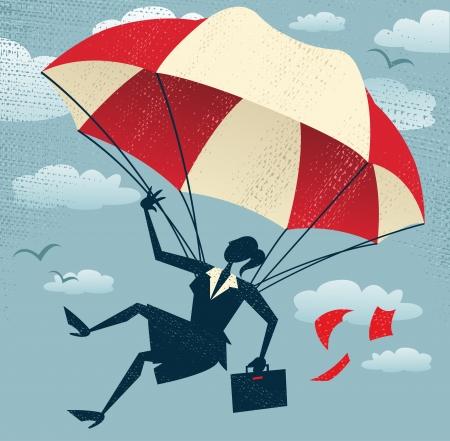 fallschirm: Abstrakt Gesch�ftsfrau benutzt ihr Fallschirm Gro�e Illustration von Retro-Stil, die Gesch�ftsfrau Illustration