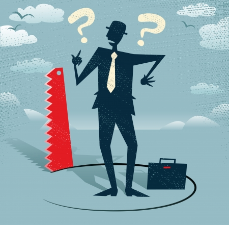 Abstract Businessman has Ground cut beneath him  Great illustration of Retro styled Businessman who looks extremely worried as a rival in business is cutting away the floor beneath him  Outrageous behaviour indeed
