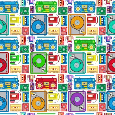 80 年代のファンキーなシームレスなタイルをテーマにしたオーディオ機器。超レトロなミニスタイルとスタイル レトロなファンキー 80 テーマ オー