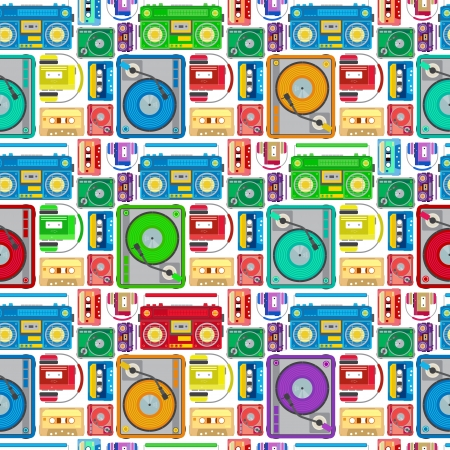 Funky 80's Themed Audio Equipment Seamless Tile. Super retro Styled illustration of Retro Funky 80's Themed Audio Equipment pattern creating a seamless tile. Works as an amazing screensaver.  Stock Illustratie