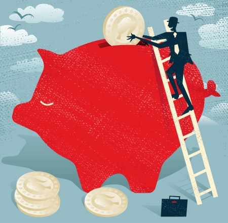 earned: Abstract Businessman saves money in Piggybank.  Great illustration of Retro styled Businessman climbing to the top of a giant piggybank to save his hard earned money.