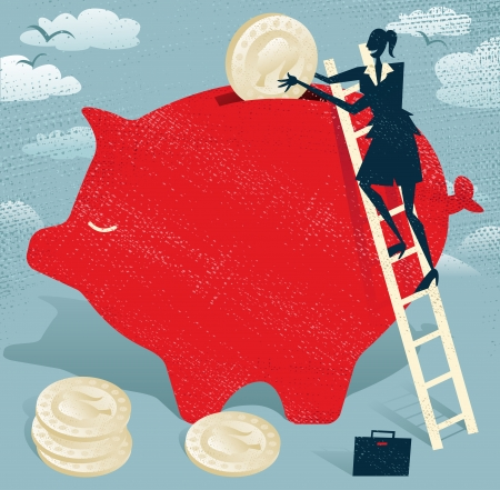 woman holding money: Abstract Businesswoman saves money in Piggybank.  Great illustration of Retro styled Businessman climbing to the top of a giant piggybank to save her hard earned money. Illustration