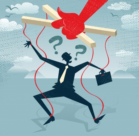 Abstract Businessman is a Puppet.  Great illustration of Retro styled Businessman caught up in bureaucratic red tape like a Puppet on a string. Illustration