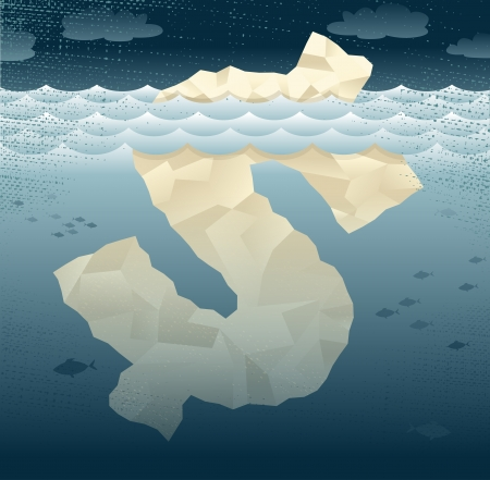 hidden danger: Abstract Business Tip of the Dollar Iceberg Great illustration of a Business themed Tip of the Iceberg shaped as a Dollar sign  Illustration