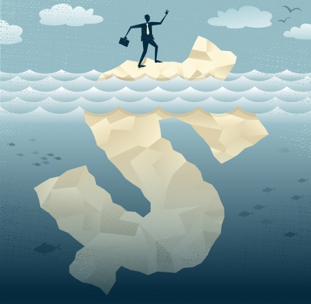 tip of the iceberg: Great illustration of Retro styled Businessman Abstract Businessmen climbing on top of the Tip of the Dollar Iceberg