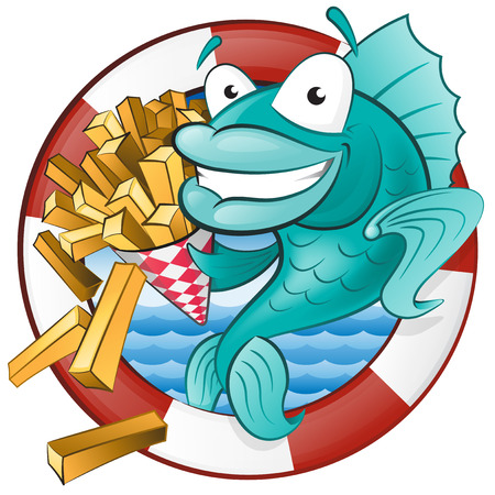 cuisine: Great illustration of a Cute Cartoon Cod Fish eating a tasty Traditional British portion of chips