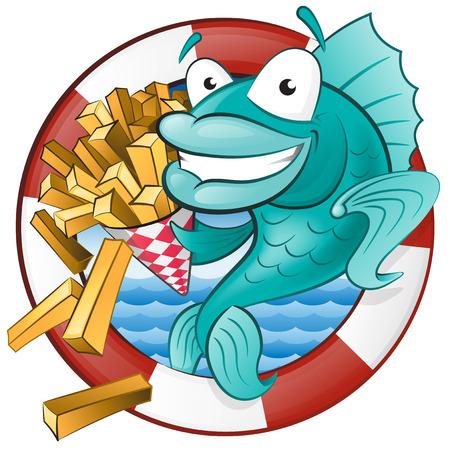 voedingsmiddelen: Grote illustratie van een leuke cartoon Kabeljauw eten van een smakelijke Traditionele Britse portie van chips