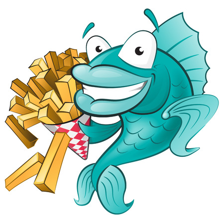 ocean fish: Cartoon Fish and Chips
