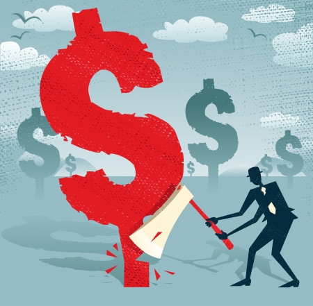 manipulated: Great illustration of Retro styled Businessman cutting down a giant Dollar Tree with his razor sharp Axe