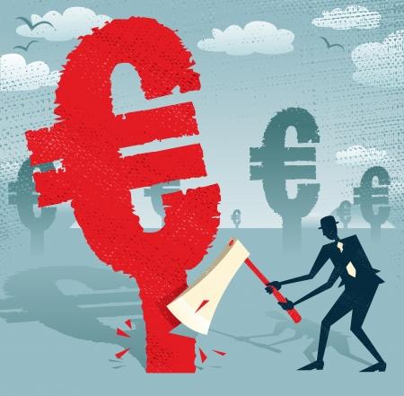 economic depression: Great illustration of Retro styled Businessman cutting down a giant European Euro Tree with his razor sharp Axe   Illustration