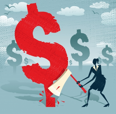 economic depression: Abstract Businesswoman cuts down the Dollar  Great illustration of Retro styled Businesswoman cutting down a giant Dollar Tree with her razor sharp Axe