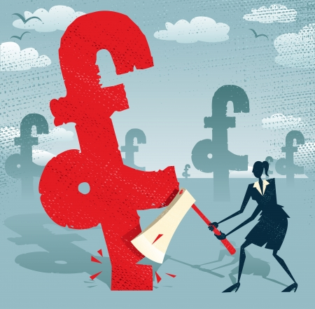 power of money: Abstract Businesswoman cuts down the Pound  Great illustration of Retro styled Businesswoman cutting down a giant UK Pound Tree with her razor sharp Axe