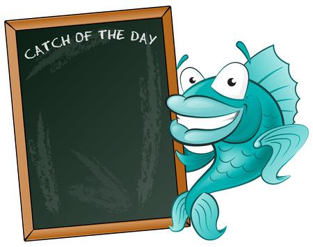 Happy Fish with his Big Blackboard Sign  Great illustration of a Cute Cartoon Cod Fish holding a chalk style blackboard to display his fishy menu