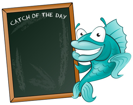 Happy Fish with his Big Blackboard Sign  Great illustration of a Cute Cartoon Cod Fish holding a chalk style blackboard to display his fishy menu  Vector