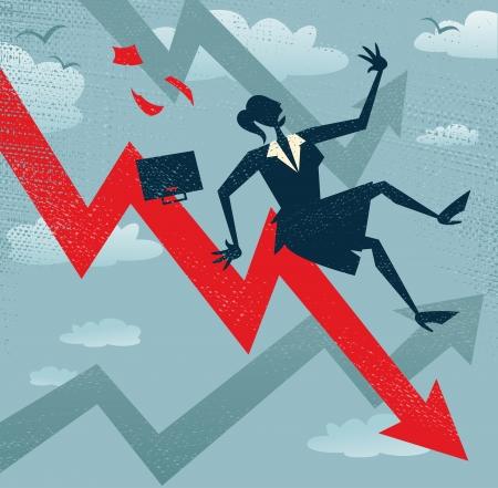 derrumbe: Resumen Empresaria cae por las ventas Gráfico Gran ejemplo de un estilo retro de la empresaria Tumbling hasta la parte inferior de las listas de ventas corporativas Vectores