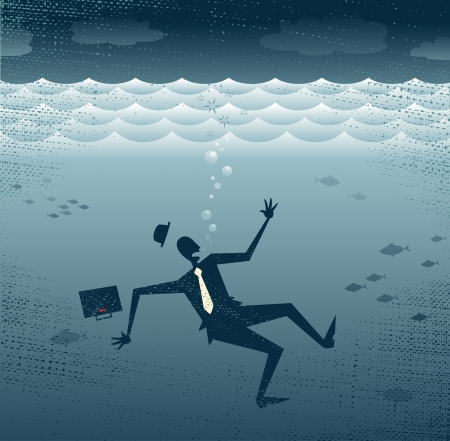 drown: Abstract Businessman Drowning  Great illustration of a Retro styled Businessman Sinking down to the bottom of the Corporate Sea