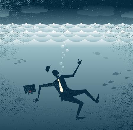 ahogarse: Resumen empresario se ahoga Gran ejemplo de un hombre de negocios de estilo retro Sinking hasta el fondo del mar Corporativa Vectores