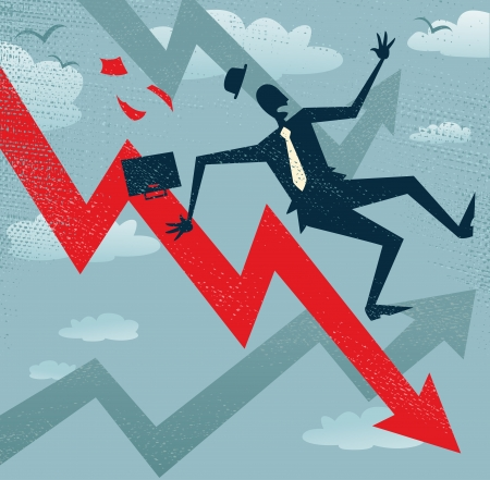 Abstract Businessman Falls down the Sales Chart  Great illustration of a Retro styled Businessman Tumbling down to the bottom of the corporate Sales Charts 版權商用圖片 - 24579143