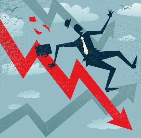 vaincu: R�sum� d'affaires tombe le diagramme de ventes Grande illustration d'un homme d'affaires de style r�tro Tumbling vers le bas des entreprises graphiques de ventes Illustration