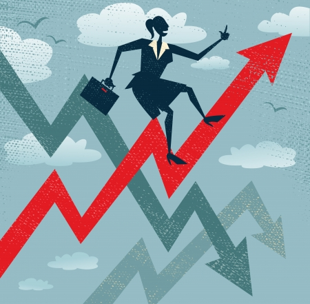 job promotion: Abstract Businesswoman Climbs the Sales Chart  Great illustration of Retro styled Businesswoman climbing to the top of the corporate Sales Charts   Illustration