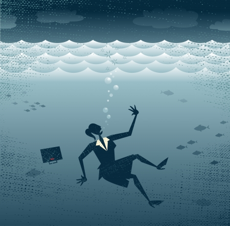 Abstract Businesswoman Drowning   Great illustration of a Retro styled Businesswoman Sinking down to the bottom of the Corporate Sea to a watery grave   Illustration