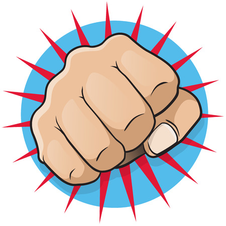 Vintage Pop Art Punching Fist   Great illustration of pop Art comic book style punching directly at you