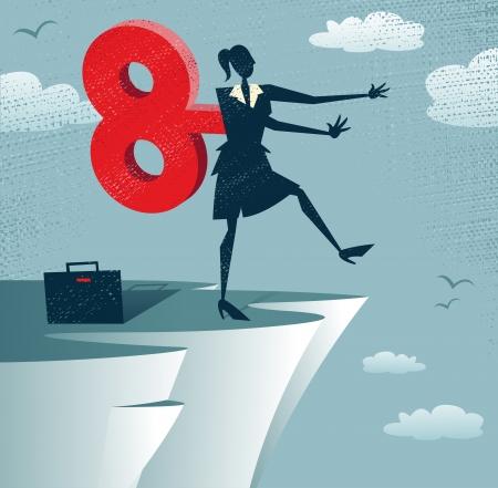 obey: Resumen Clockwork empresaria camina por un precipicio. Gran ejemplo de estilo retro de la empresaria camina por un precipicio porque se enrolla como un robot de juguete con un reloj de claves enorme. Vectores