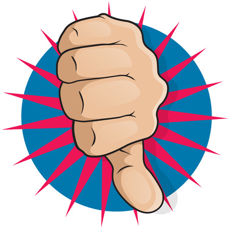 Vintage Pop Art Thumbs Down. Great illustration of Pop Art Comic Style Thumbs Up gesturing Negative Disapproval. Illustration